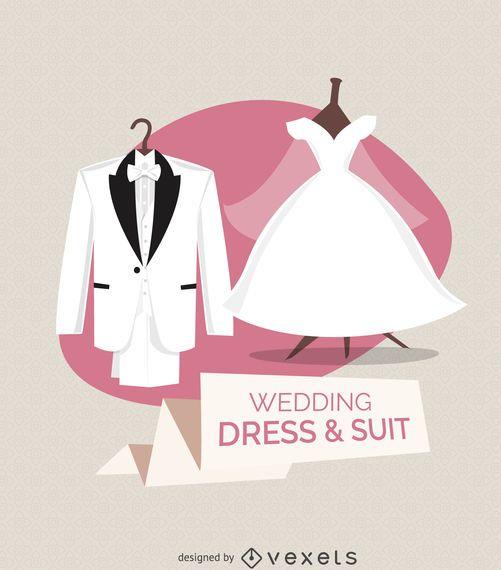 Vestido de casamento e ilustração de terno