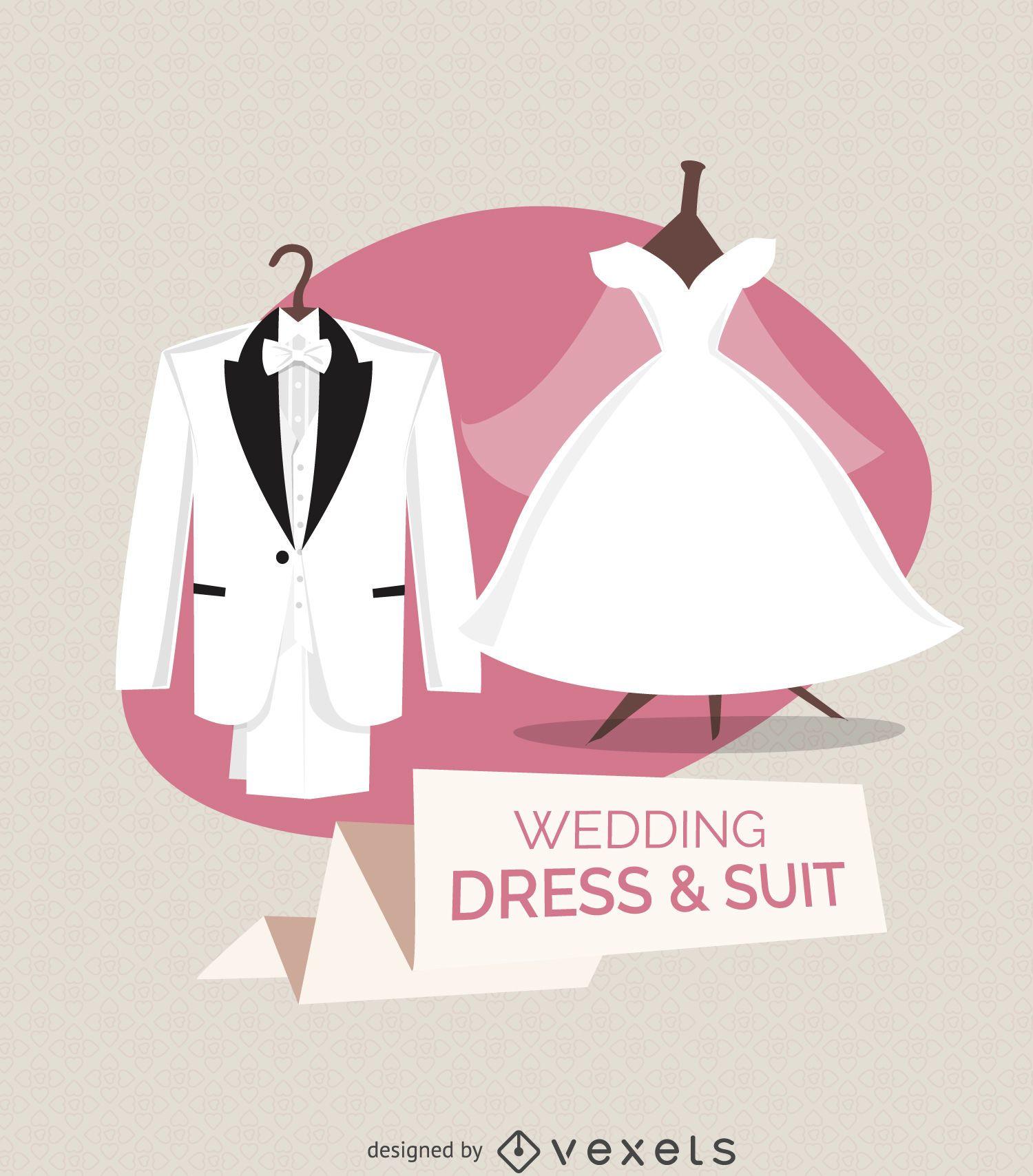 Ilustraci?n de vestido y traje de novia