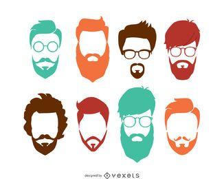 Conjunto de peinado de hipster