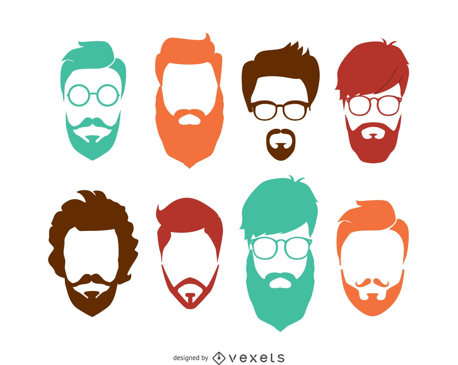 Hairstyle Vector: Hipster Hairstyle Set