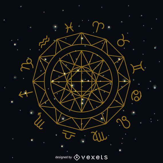 Símbolo do círculo do sinal do zodíaco
