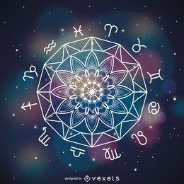 Desenho de horóscopo de mandala