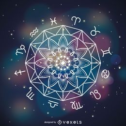 Mandala-Horoskopzeichnung