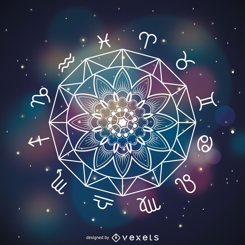 Mandala horoscope drawing