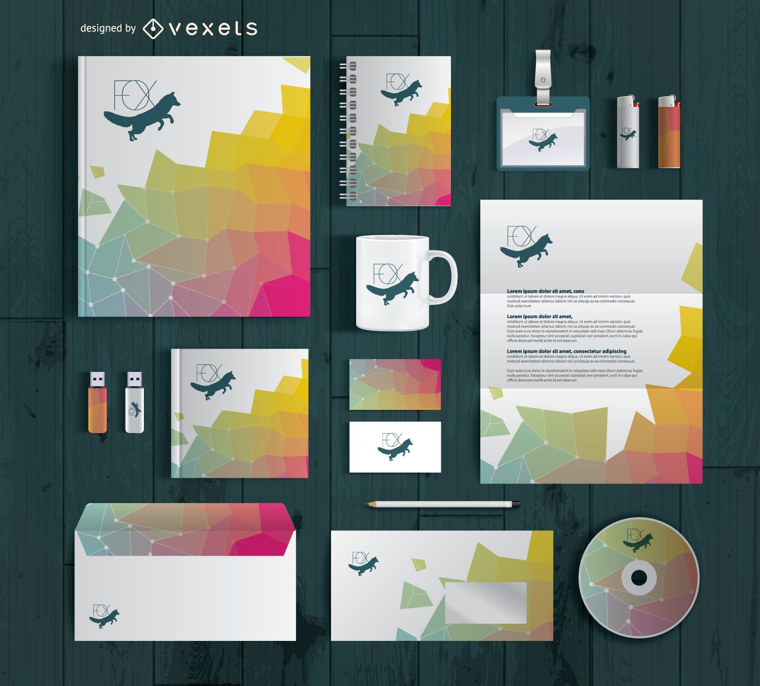 stationary supplies branding mockup vector download