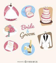 Conjunto de ilustração de elementos de casamento