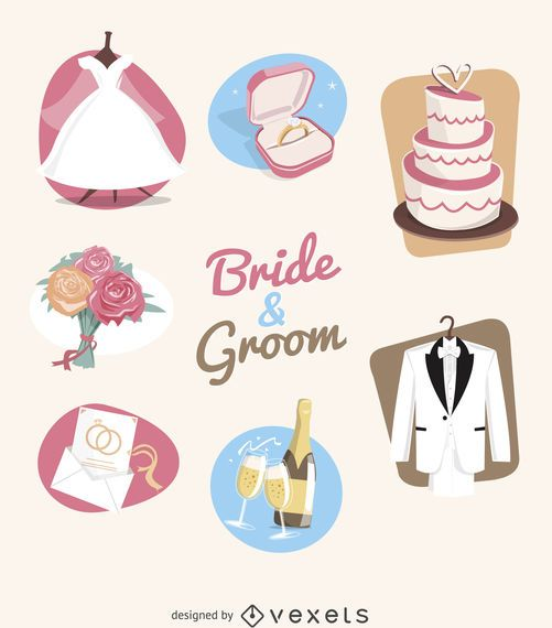 Wedding elements illustration set