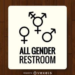 Rótulo de banheiro de gêneros LGBT