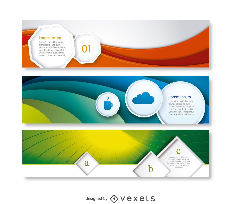 Conjunto de banners de negócios abstratos 3