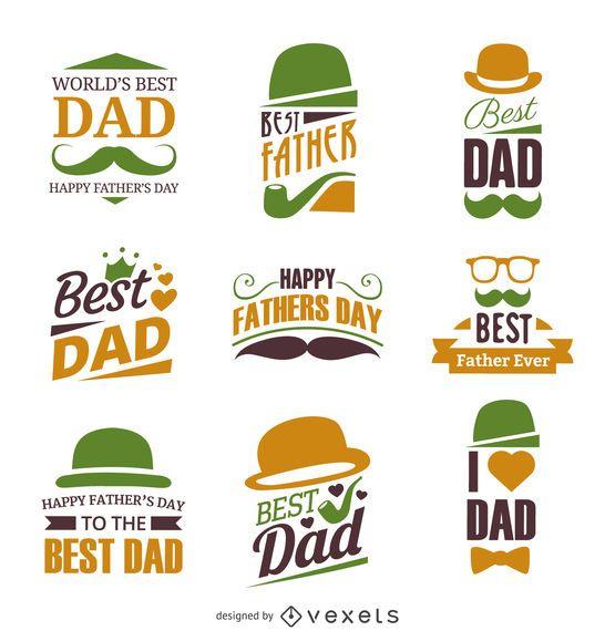 Conjunto de etiqueta de la insignia del día del padre