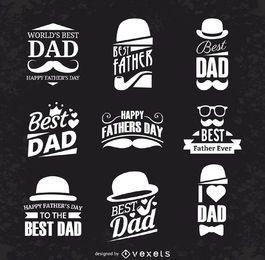 Conjunto de etiquetas do dia dos pais