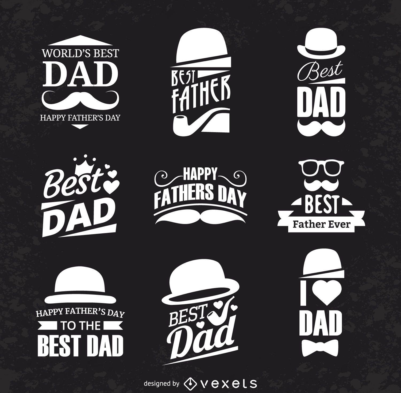 Conjunto de rótulos de dia dos pais