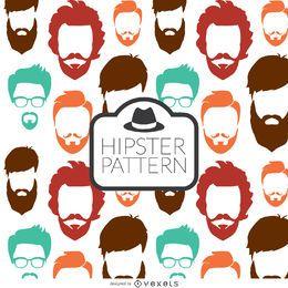 Patrón sin fisuras de barba hipster