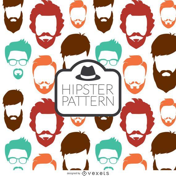 Hipster beard seamless pattern