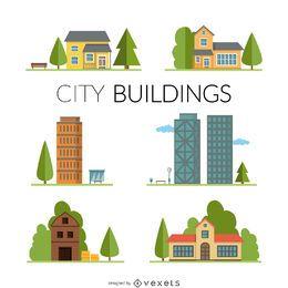Conjunto de ilustración de casas y edificios.