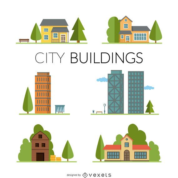 Homes and buildings illustration set