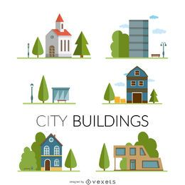 City buildings drawing set