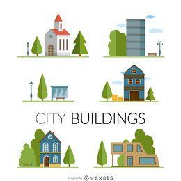 Stadtgebäude Zeichnungssatz