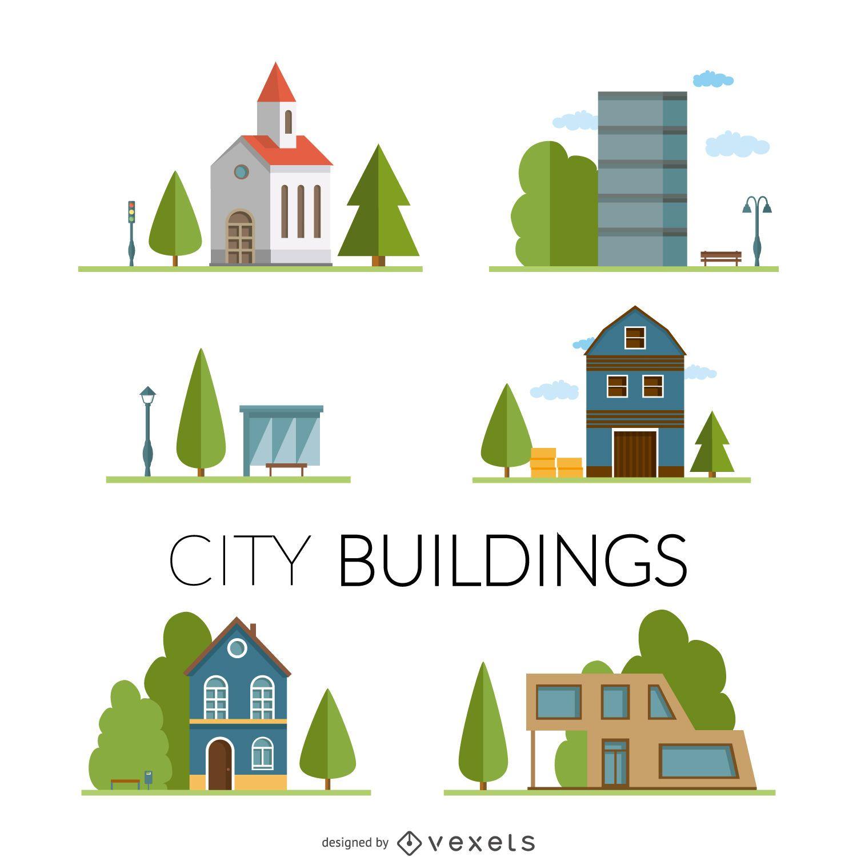 Conjunto de dibujo de edificios de la ciudad