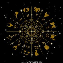 Zodiac signs circle illustration