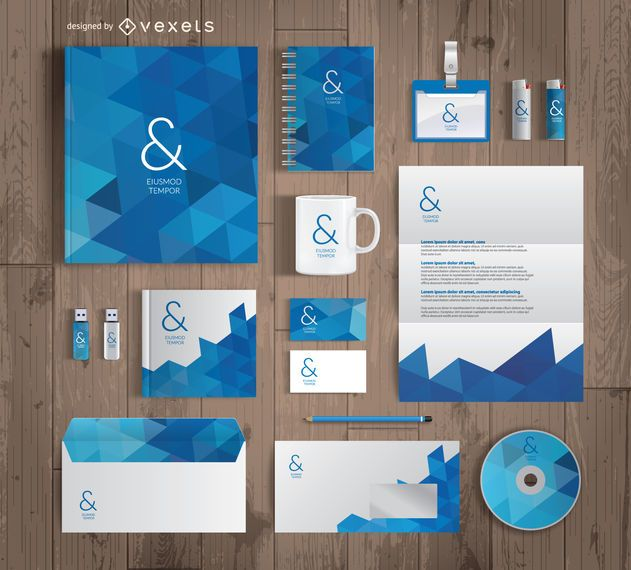 Office supplies mockup template