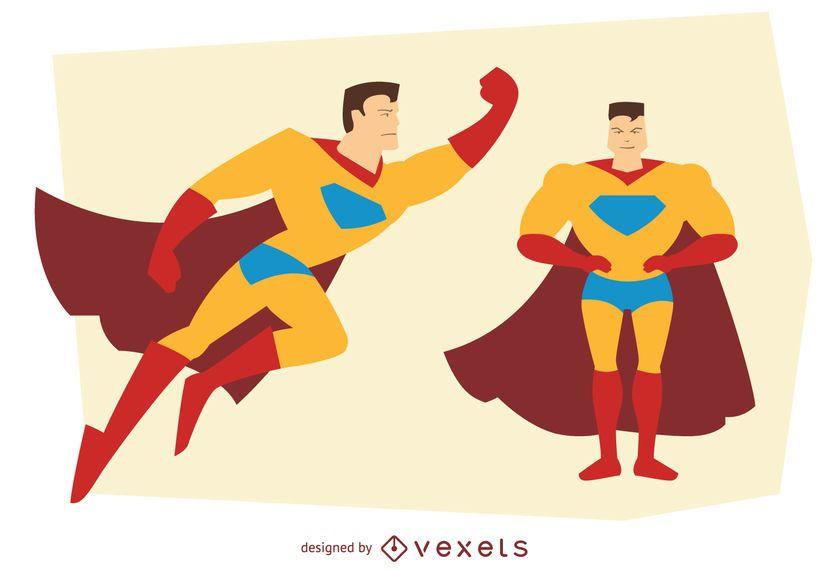 Man superhero posing illustrations
