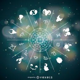 Rueda de signos del horóscopo con mandala