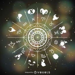 Signos do horóscopo mandala desenhada