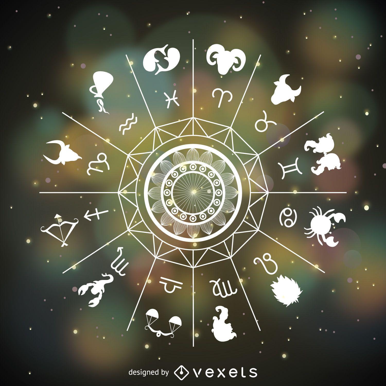 Signos del horóscopo dibujado mandala