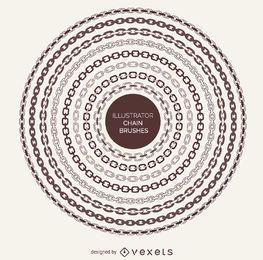 Pinceles de marcos de cadena ilustrados