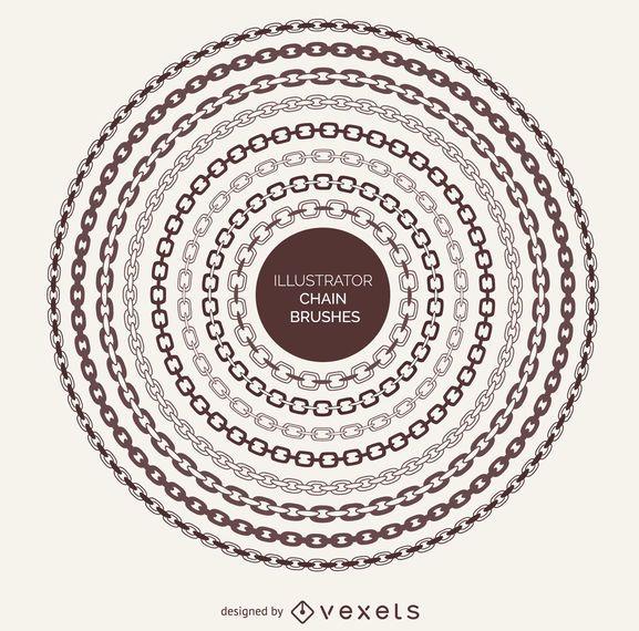 Marcos de cadena ilustrados cepillos