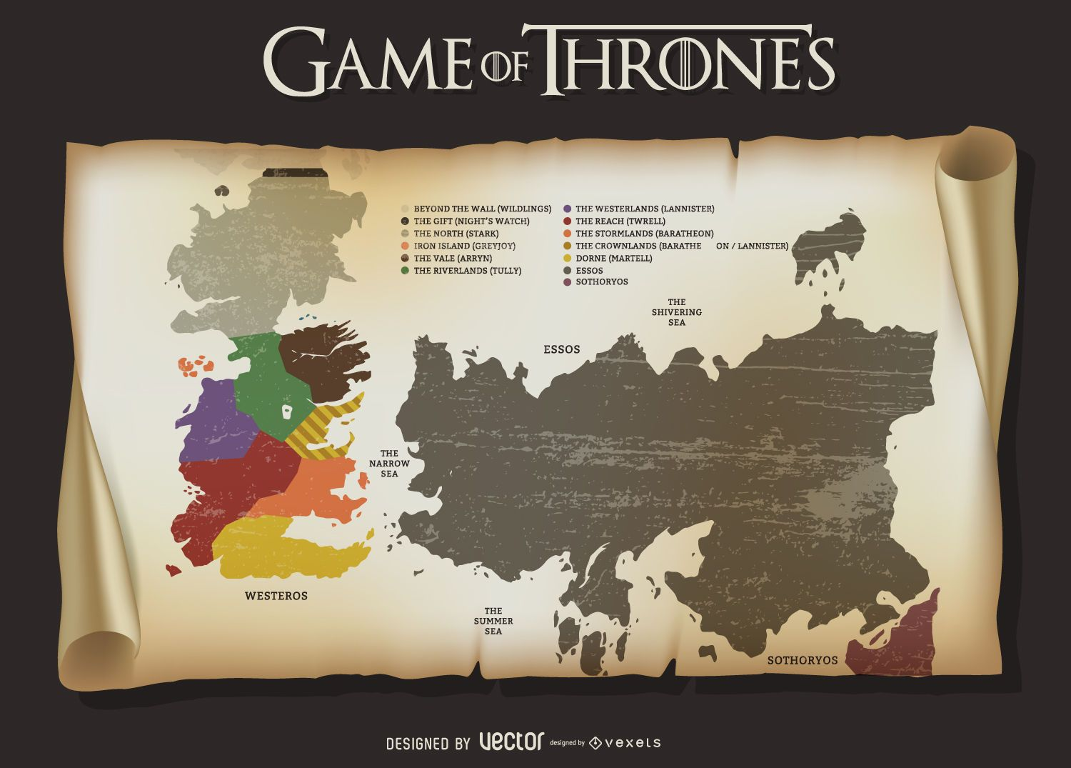 picture relating to Free Printable Map of Westeros named Sport of Thrones map - Vector obtain
