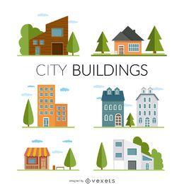 Ilustración de casas y edificios planos.
