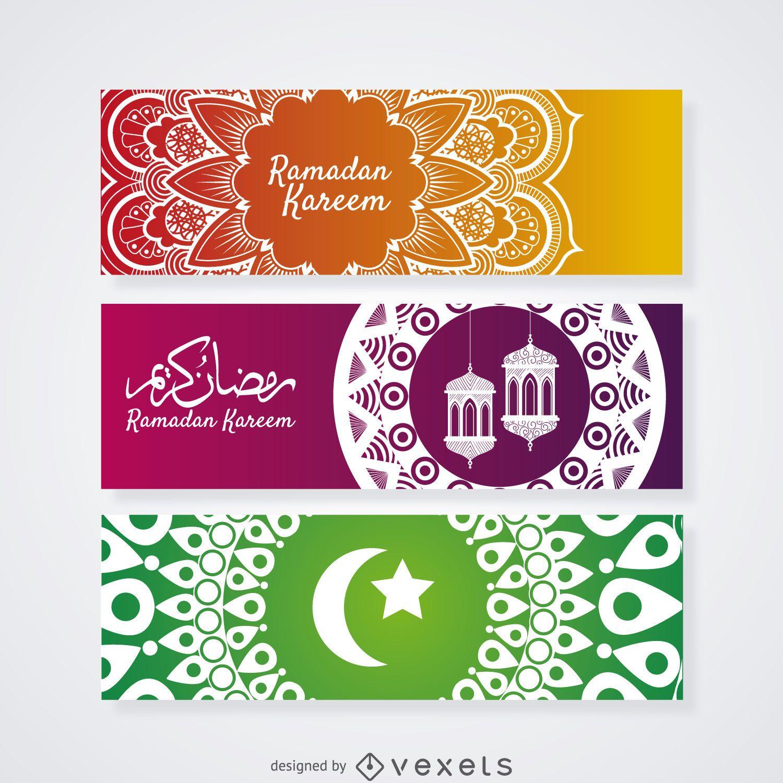 Conjunto de banner de mandala de ramadam