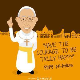 Papst Franziskus Botschaft Zeichnung