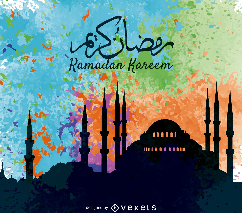 Pôster colorido do Ramadan Kareem