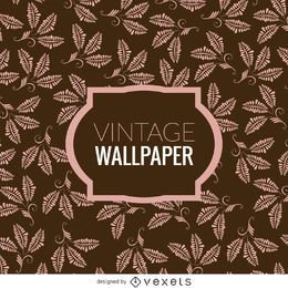 Papel de parede vintage com folhas florais