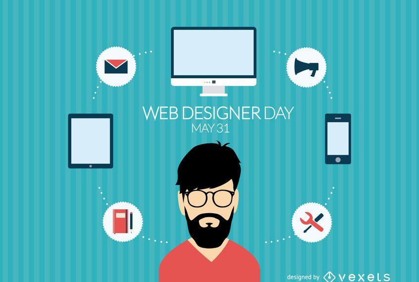Día del diseñador web de diseño plano.