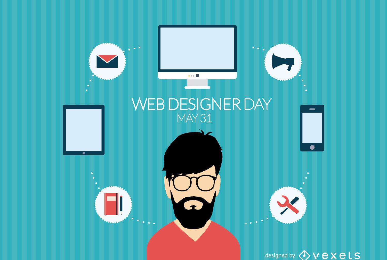 Flat design web designer day