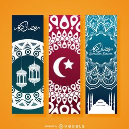 Conjunto de banner vertical do Ramadã
