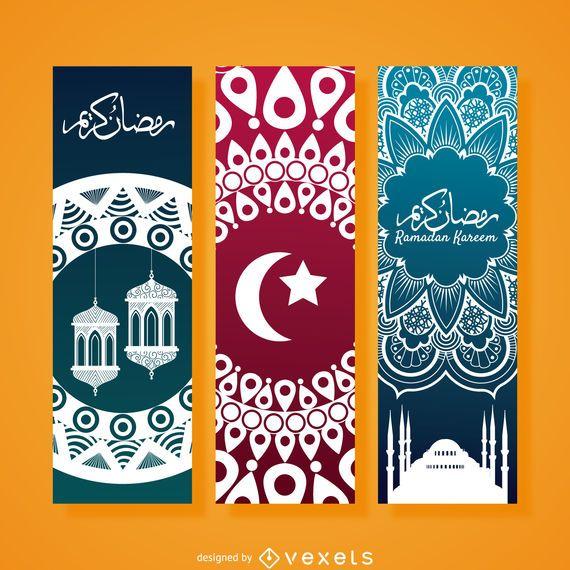 Vertical Ramadan banner set - Vector download
