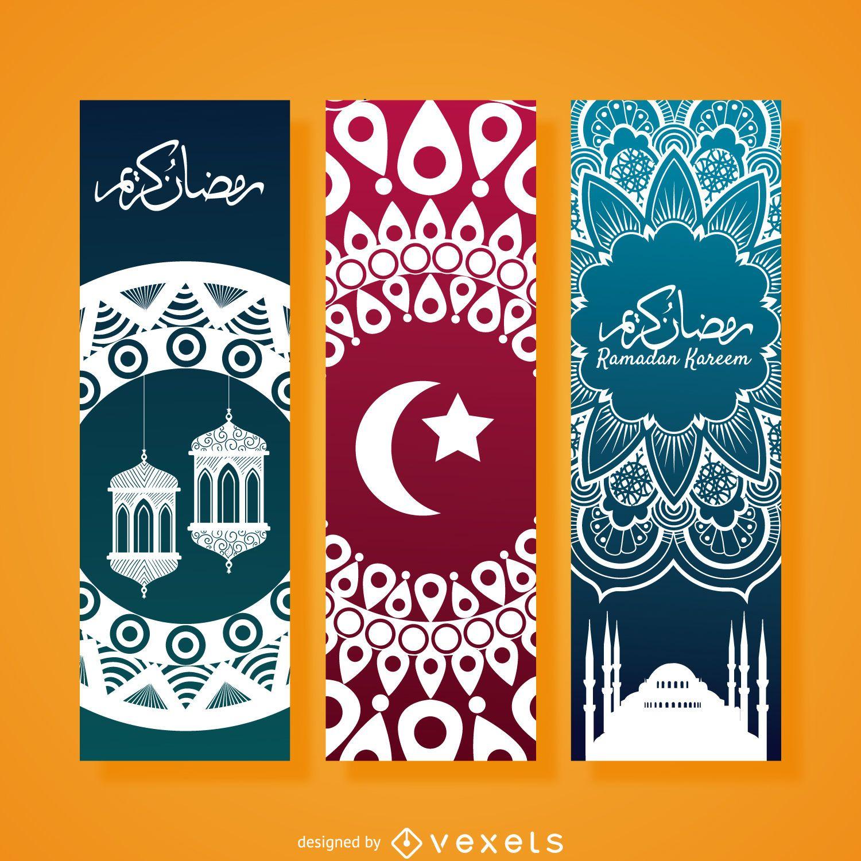 Conjunto de banner vertical de Ramadán