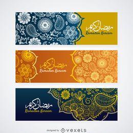 Conjunto de banner Paisley Ramadan