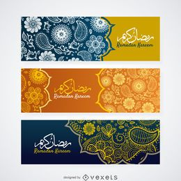 Conjunto de banners de Paisley Ramadán