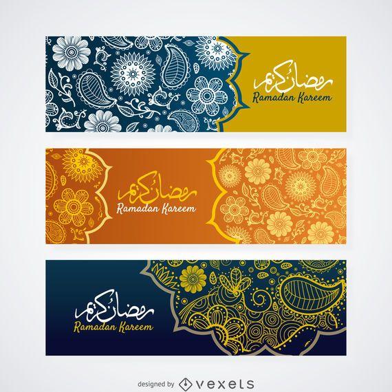 Conjunto de banner de Paisley Ramadan