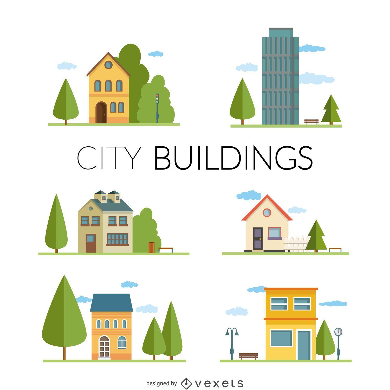 Flat city buildings illustrations
