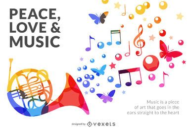 Colorido cartel de musica