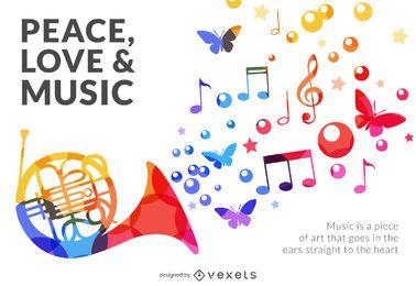 Letreiro musical colorido