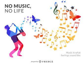 Cartaz de silhueta de músico