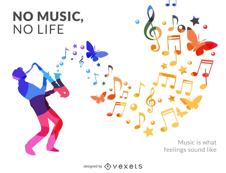 Cartel de silueta de músico